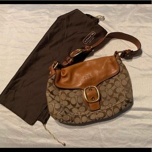 Coach brown signature handbag